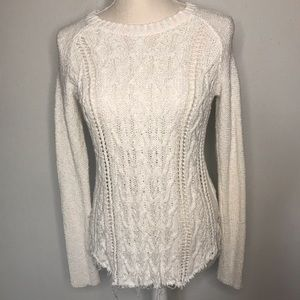 KAISELY Cotton Knit Pullover with distressed hem